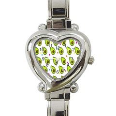 Avocado Seeds Green Fruit Plaid Heart Italian Charm Watch by Mariart