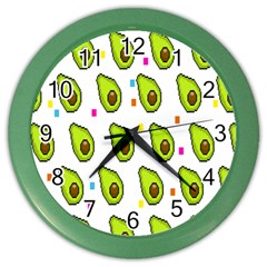 Avocado Seeds Green Fruit Plaid Color Wall Clocks by Mariart
