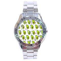 Avocado Seeds Green Fruit Plaid Stainless Steel Analogue Watch by Mariart
