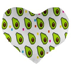 Avocado Seeds Green Fruit Plaid Large 19  Premium Flano Heart Shape Cushions by Mariart