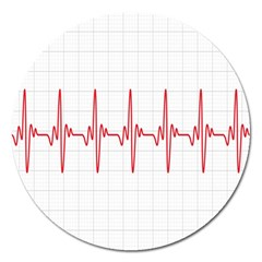 Cardiogram Vary Heart Rate Perform Line Red Plaid Wave Waves Chevron Magnet 5  (round) by Mariart