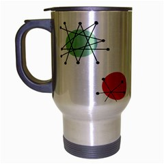 Atomic Starbursts Circle Line Polka Travel Mug (silver Gray) by Mariart