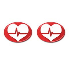 Cardiologist Hypertension Rheumatology Specialists Heart Rate Red Love Cufflinks (oval) by Mariart