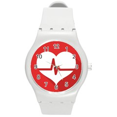 Cardiologist Hypertension Rheumatology Specialists Heart Rate Red Love Round Plastic Sport Watch (m) by Mariart