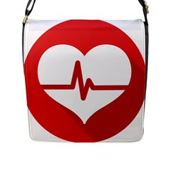 Cardiologist Hypertension Rheumatology Specialists Heart Rate Red Love Flap Messenger Bag (l)  by Mariart