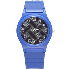 Closeup Purple Line Round Plastic Sport Watch (s) by Mariart