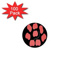 Craft Pink Black Polka Spot 1  Mini Buttons (100 Pack)  by Mariart