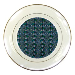 Boomarang Pattern Wave Waves Chevron Green Line Porcelain Plates by Mariart