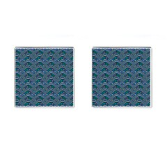Boomarang Pattern Wave Waves Chevron Green Line Cufflinks (square) by Mariart