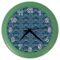 Boomarang Pattern Wave Waves Chevron Green Line Color Wall Clocks by Mariart