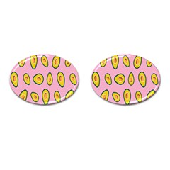 Fruit Avocado Green Pink Yellow Cufflinks (oval) by Mariart