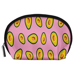 Fruit Avocado Green Pink Yellow Accessory Pouches (large)  by Mariart
