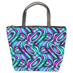Circle Purple Green Wave Chevron Waves Bucket Bags by Mariart