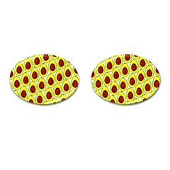 Avocados Seeds Yellow Brown Greeen Cufflinks (oval) by Mariart