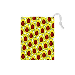 Avocados Seeds Yellow Brown Greeen Drawstring Pouches (small)  by Mariart