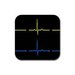 Heart Monitor Screens Pulse Trace Motion Black Blue Yellow Waves Rubber Square Coaster (4 Pack)  by Mariart