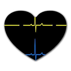 Heart Monitor Screens Pulse Trace Motion Black Blue Yellow Waves Heart Mousepads by Mariart