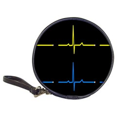 Heart Monitor Screens Pulse Trace Motion Black Blue Yellow Waves Classic 20 Cd Wallets by Mariart