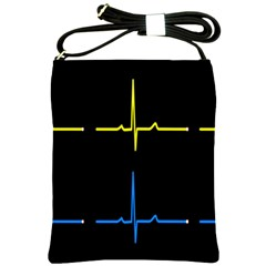 Heart Monitor Screens Pulse Trace Motion Black Blue Yellow Waves Shoulder Sling Bags by Mariart