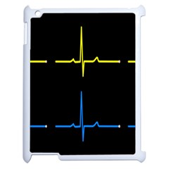 Heart Monitor Screens Pulse Trace Motion Black Blue Yellow Waves Apple Ipad 2 Case (white) by Mariart