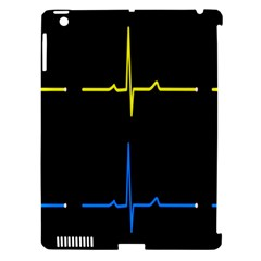 Heart Monitor Screens Pulse Trace Motion Black Blue Yellow Waves Apple Ipad 3/4 Hardshell Case (compatible With Smart Cover) by Mariart