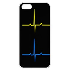Heart Monitor Screens Pulse Trace Motion Black Blue Yellow Waves Apple Iphone 5 Seamless Case (white) by Mariart