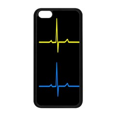 Heart Monitor Screens Pulse Trace Motion Black Blue Yellow Waves Apple Iphone 5c Seamless Case (black) by Mariart