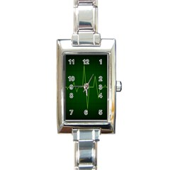Heart Rate Green Line Light Healty Rectangle Italian Charm Watch by Mariart