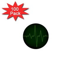 Heart Rate Green Line Light Healty 1  Mini Buttons (100 Pack)  by Mariart