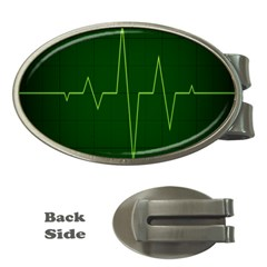Heart Rate Green Line Light Healty Money Clips (oval)  by Mariart