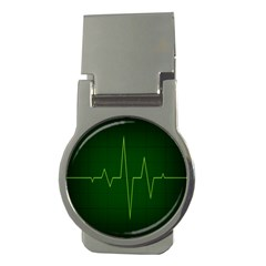 Heart Rate Green Line Light Healty Money Clips (round)  by Mariart