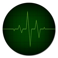 Heart Rate Green Line Light Healty Magnet 5  (round) by Mariart