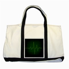Heart Rate Green Line Light Healty Two Tone Tote Bag by Mariart