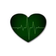 Heart Rate Green Line Light Healty Rubber Coaster (heart)  by Mariart