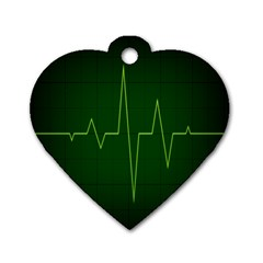 Heart Rate Green Line Light Healty Dog Tag Heart (two Sides) by Mariart