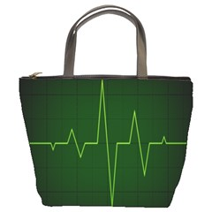 Heart Rate Green Line Light Healty Bucket Bags by Mariart