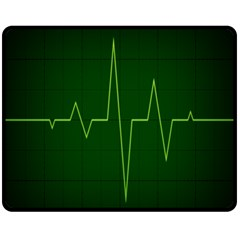 Heart Rate Green Line Light Healty Fleece Blanket (medium)  by Mariart