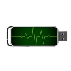 Heart Rate Green Line Light Healty Portable Usb Flash (one Side) by Mariart