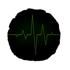 Heart Rate Green Line Light Healty Standard 15  Premium Round Cushions by Mariart