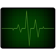 Heart Rate Green Line Light Healty Double Sided Fleece Blanket (large)  by Mariart