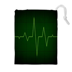 Heart Rate Green Line Light Healty Drawstring Pouches (extra Large) by Mariart