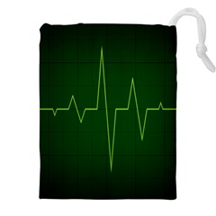 Heart Rate Green Line Light Healty Drawstring Pouches (xxl) by Mariart