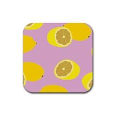 Fruit Lemons Orange Purple Rubber Square Coaster (4 Pack)  by Mariart