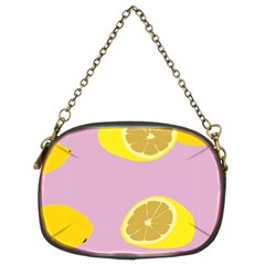 Fruit Lemons Orange Purple Chain Purses (two Sides)  by Mariart