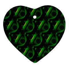 Green Eye Line Triangle Poljka Ornament (heart) by Mariart