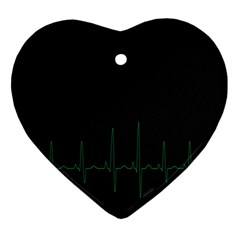 Heart Rate Line Green Black Wave Chevron Waves Ornament (heart) by Mariart