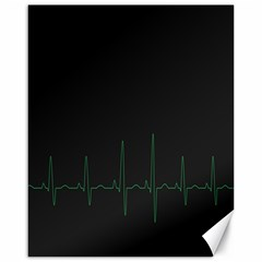 Heart Rate Line Green Black Wave Chevron Waves Canvas 16  X 20   by Mariart