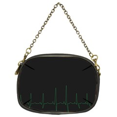 Heart Rate Line Green Black Wave Chevron Waves Chain Purses (two Sides)  by Mariart