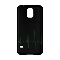 Heart Rate Line Green Black Wave Chevron Waves Samsung Galaxy S5 Hardshell Case  by Mariart