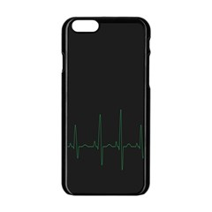 Heart Rate Line Green Black Wave Chevron Waves Apple Iphone 6/6s Black Enamel Case by Mariart